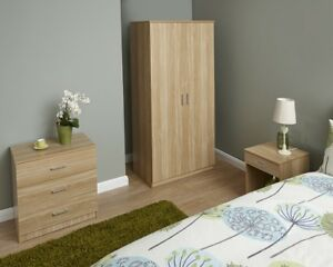 NEW Contemporary 3 Piece Bedroom Set Nightstand Wardrobe & Chest Colour Options