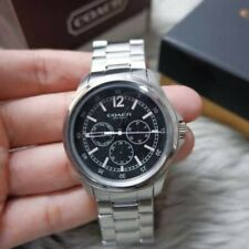 COACH  BARROW CHRONOGRAPH STAINLESS STEEL SILVER BLACK MEN'S WATCH