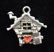 Home Is Where The Heart Is Sterling Silver Charm 925 House Heart Red Enameled