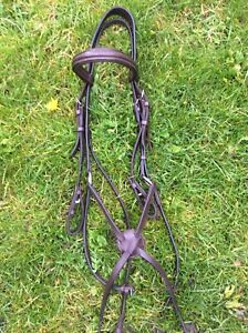 Full Size Brown Leather Grackle Bridle, Silver Fittings In Used Condition.