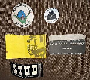 Stud Bar San Francisco Calif Gay Bar Original Vintage Pinback Buttons Card 1980s