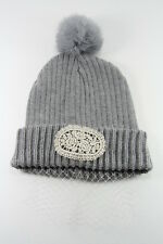 LADIES GREY WOOLY WINTER INSPIRED HAT WITH POM POM /LACE DESIGN(HT20)