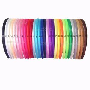 6 x Satin Alice Bands Girls Ladies Headband mixed colours.