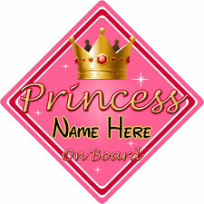 Personalised Child/Baby On Board Car Sign ~ Princess On Board ~ Pink