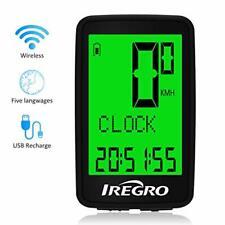 IREGRO Bike Computer, USB Rechargeable Wireless Waterproof Bicycle Speedometer