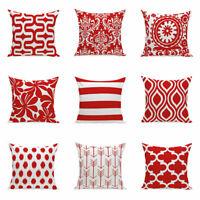 Simple Red Geometric Wave Cushion Cover Throw Pillow Case Sofa Car Decor Home
