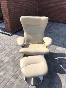 Danish Verikon Swivel Chair And Footstool