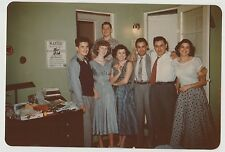 Vintage VTG 50s Glossy PHOTO Young Men & Women In Office