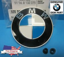 "GENUINE 3.25"" BMW Hood / Trunk Emblem Roundel (OEM# 51148132375) w/Grommets INCL"