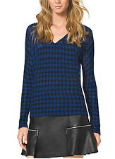 NWT $99.50 MICHAEL KORS Houndstooth Mohair Blend Sweater Amalfi Blue