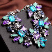 LX_ Women Fashion Jewelry Statement Bib Collar Colorful Rhinestone Chain Neckl