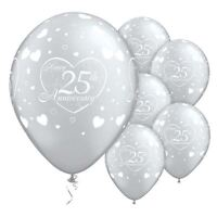 25pcs x  25th Silver Anniversary Party Decorations Latex Balloons 12""