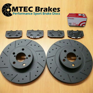For Impreza WRX 2.0 2.5 2000-2007 Front Dimpled Grooved Brake Discs Brembo Pads