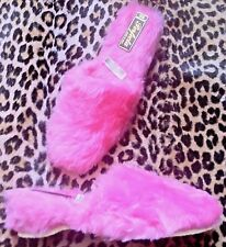 Vintage 50s/60s Pin-Up Fuzzy Wedges Slippers~Pink Faux Fur~Made In Italy~New~7.5