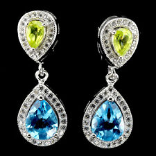GLORIOUS PEAR 9x7mm TOP SWISS BLUE TOPAZ,GREEN PERIDOT,W. CZ 925 SILVER EARRINGS