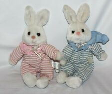 "Lot of 2 Russ Bunny Rabbit Pink Blue White Bumpkins Striped 12"" Toy Plush Animal"