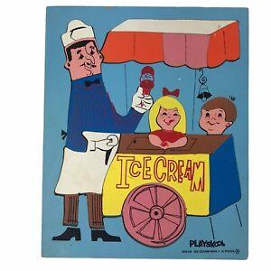 Vintage Playskool Children Wooden Jigsaw Puzzle Ice Cream Man 360-23 21 Pieces