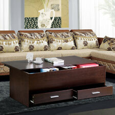 Espresso Finish Wood Trunk Coffee End Table with Sliding Top and Storage Drawers
