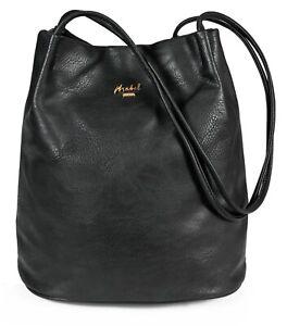 Womans Plain Soft Faux Leather Hobo Bucket Shaped Vegan Leather Shoulder Handbag