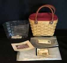 Longaberger Little Boardwalk Basket ~ Protector & Zippered Paprika Liner 3pc New