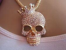 Bettelkette Hals Kette Lang Strass Totenkopf Skull Mit Krone Gold Bling BR037