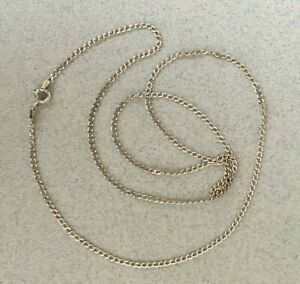 VINTAGE 9ct WHITE GOLD CURB CHAIN 25 inches (62cm) 926 2mm hallmarked 375 Italy
