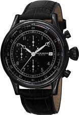Akribos XXIV Ak798bk Chronograph Date GMT Leather Strap Black Mens Watch