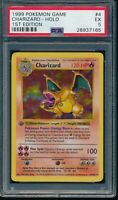 PSA 5 CHARIZARD 1999 Pokemon Base 1ST EDITION THICK STAMP SHADOWLESS #4 Holo EX