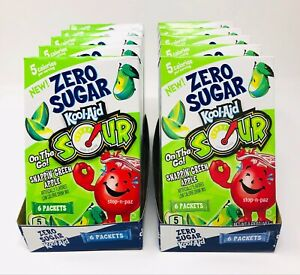 Kool Aid Sour Green Apple Zero Sugar Singles To Go 10 Boxes (60 Packets)