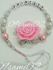 ❤ Bling Rose Shamballa & Crystal Romany Dummy Clip personnalisé blanc/rose! ❤❤