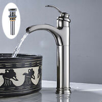 Bathroom Basin Faucet Vanity Sink Mixer Tap Tall Countertop With Drain Brushed