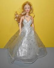 Barbie Gown Doll Beaded Dress Princess Wedding White w/Silver Stars & Necklace