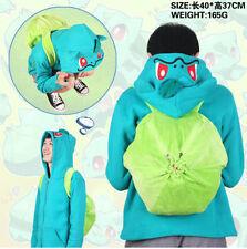 Pokemon Go Bulbasaur Hoodie Coat Plush Backpack School bag Free Shipping