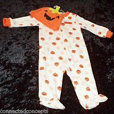 Carters Pumpkin My First Halloween Infant Footed Sleeper (SIZE 6 Months) NEW!
