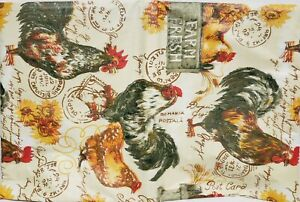 """FLANNEL BACK VINYL TABLECLOTH 52"""" x 90"""" Oblong, ROOSTERS, SUNFLOWERS & POST, AP"""