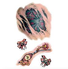 Tatouage temporaire déguisement Halloween araignée , têtes de mort et cicatrices