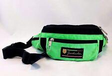 Jordache Neon Green Pink Black Fanny Pack 5 Zipper Vintage Hipster Bum Bag Hike