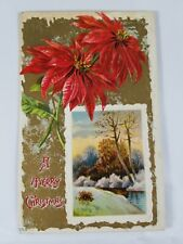 Vintage A MERRY CHRISTMAS Greeting Postcard Poinsettia & River Scene #555 1920s?