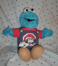 """2008 Fisher Price Farmer Cookie Monster Sound 17""""  Plush Soft Toy Stuffed Animal"""