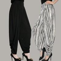 Womens Long Casual Loose Wide Leg Long Pants Ladys Elastic Waist Stripe Trousers