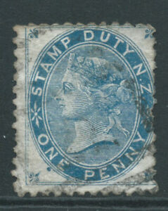 NEW ZEALAND 1882 SGF2 1d blue - Postal Fiscal - used couple blunt perf. Cat £45