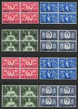 1953 Coronation G.B. Overprint Sets in MNH Blocks of Four