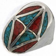 NAVAJO Turquoise or Coral STERLING Silver Men's Ring Choice of Inlay Sizes 9-12