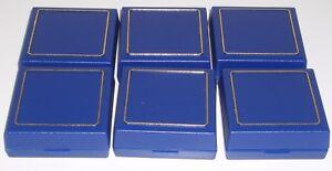 Six New Blue Plastic Pendant Box's With Gold Trim & Velvet Insert