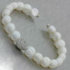 Vintage 18k Solid White Gold Pearl 1ctw Diamond 9mm Cuff Bracelet 23g