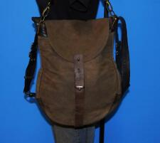 ROUGH & TUMBLE 1903 Brown Canvas Rugged Leather Messenger Satchel Cross-Body Bag