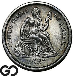 1867-S Seated Liberty Dime, Very Scarce Attractive Choice BU++ Key Date!