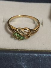 9ct Gold Green Garnet Tsavorite & Diamond Ring Size N 1.79 Grams
