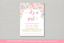 Pink Floral Watercolor Flowers Baby Shower Invitation Printable Editable Pdf