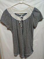 LUCKY BRAND Boho Striped Tie Crochet Neck Woman's Top Size M Navy White